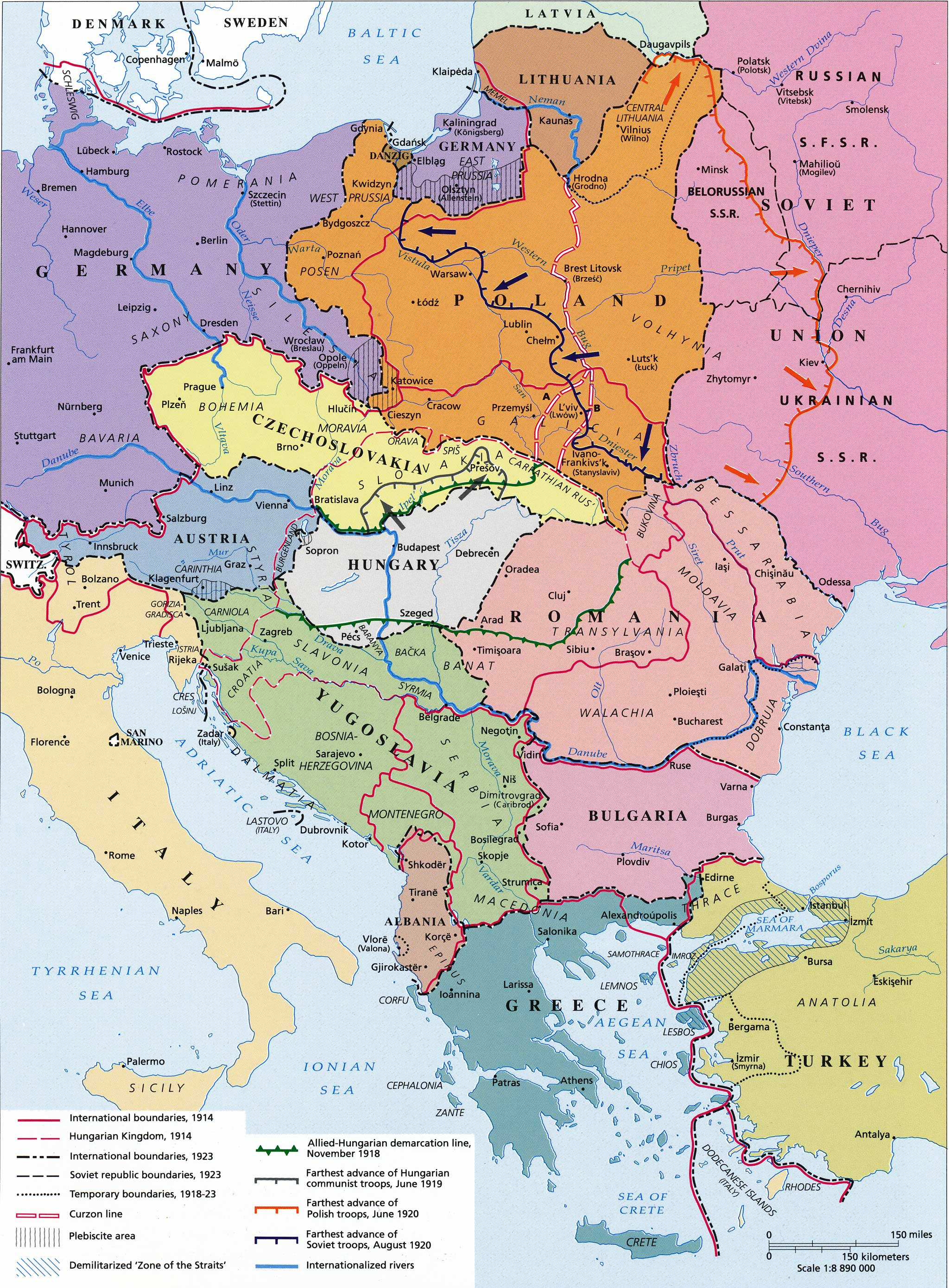east central europe 1918 to 1923 hungary today