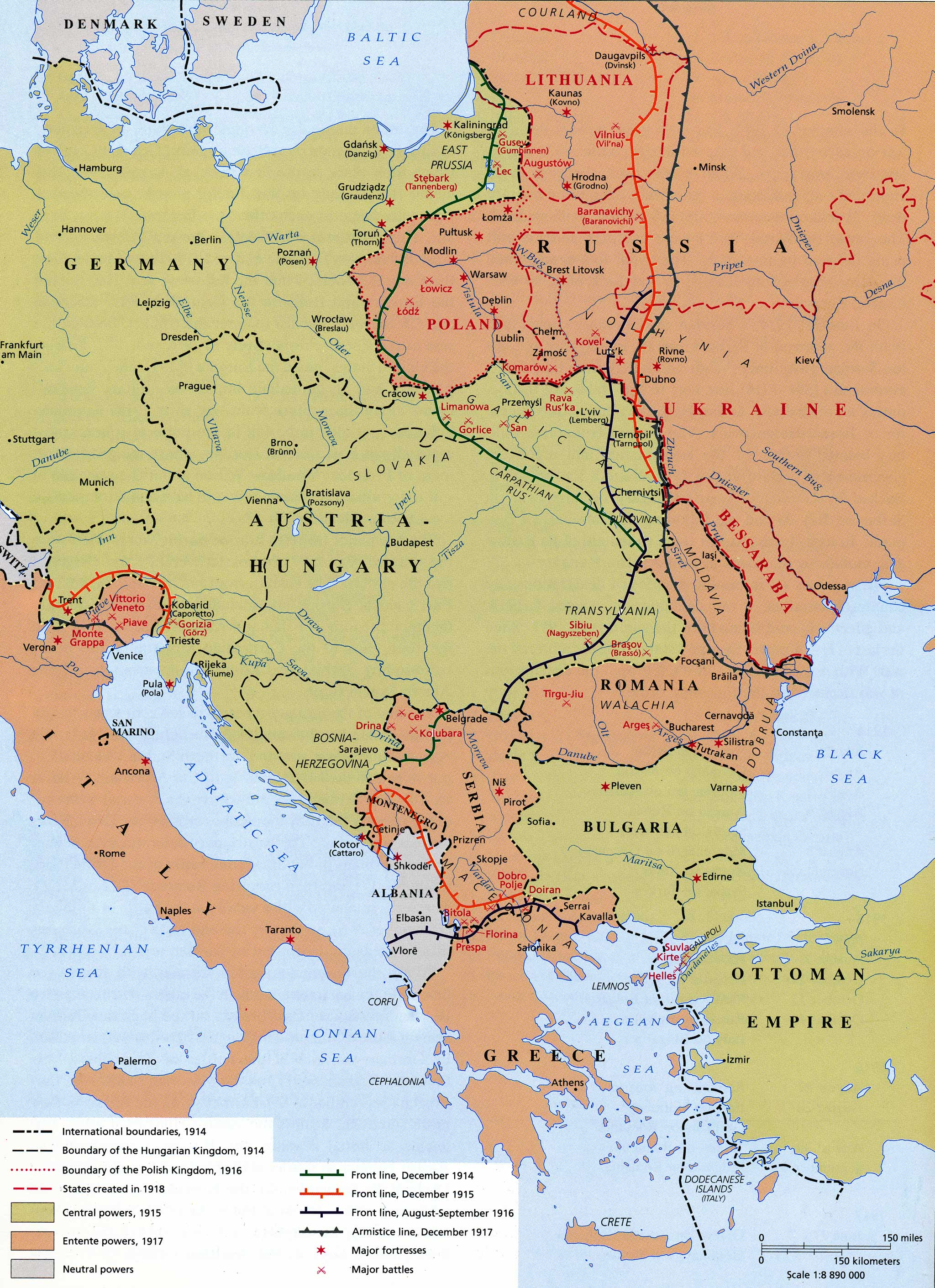 World War I 1914 to 1918 Maps