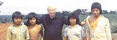 Father Gruber with indian children