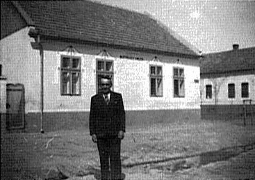 Josef Ermler in front of Farmhouse - House #203<br> Click to enlarge